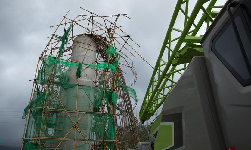 Damaged bridge construction site after a typhoon