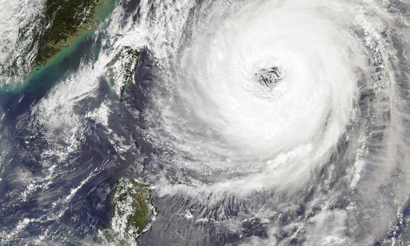 Typhoon Trami takes aim at Japan in the western Pacific Ocean