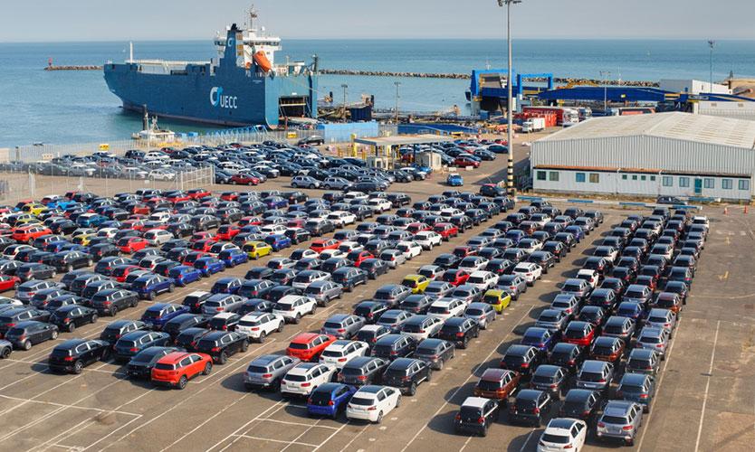 Cars at British port