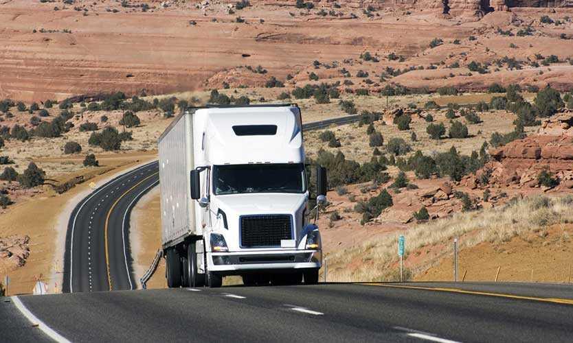 Truck on Utah highway
