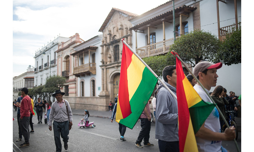 Protesters rally against election fraud in Bolivia.