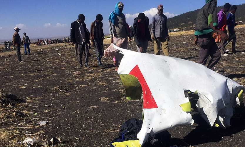 Part of the wreckage at the scene of the Ethiopian Airlines Flight ET 302 plane crash