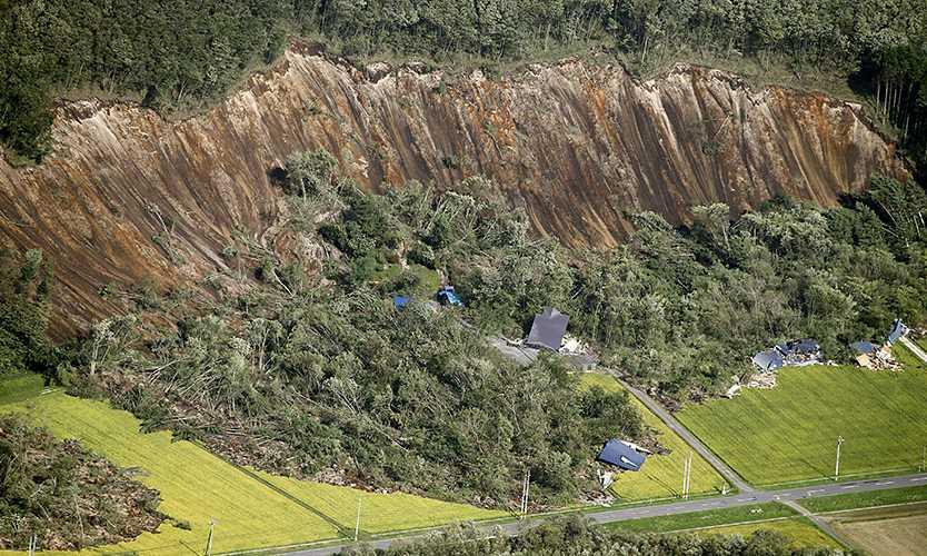 Mudslide from Hokkaido earthquake in 2018