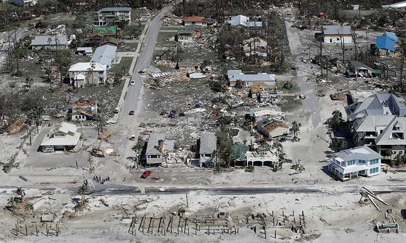 Damage from Hurricane Michael in Mexico Beach, Florida