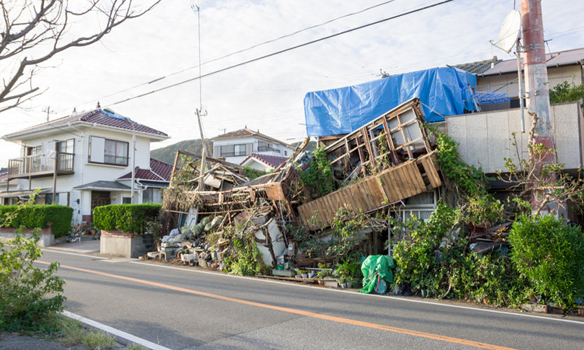 Roofs of houses severely damaged by Typhoon Faxai, in the municipality of Minamiboso, south of the province of Chiba in Japan.