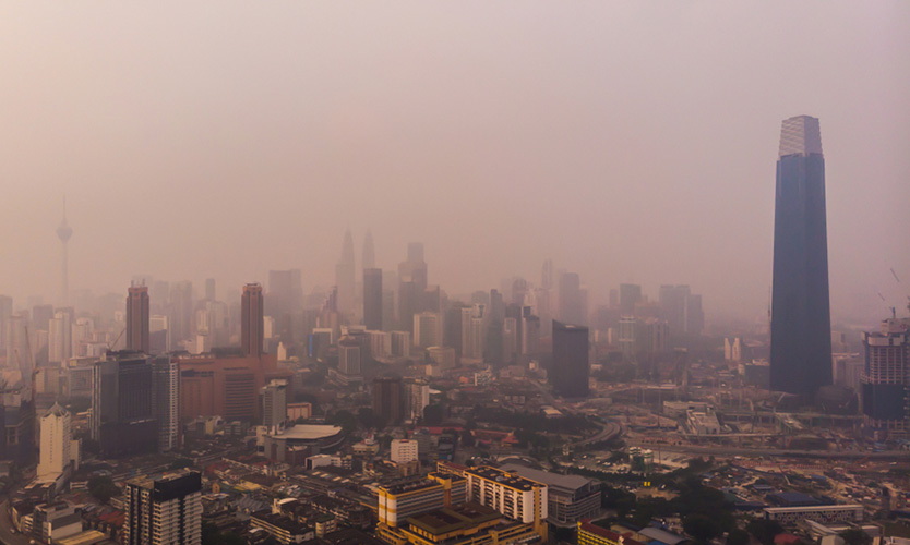 Smoke haze shrouds Kuala Lumpur as the result of forest fires in September 2019.