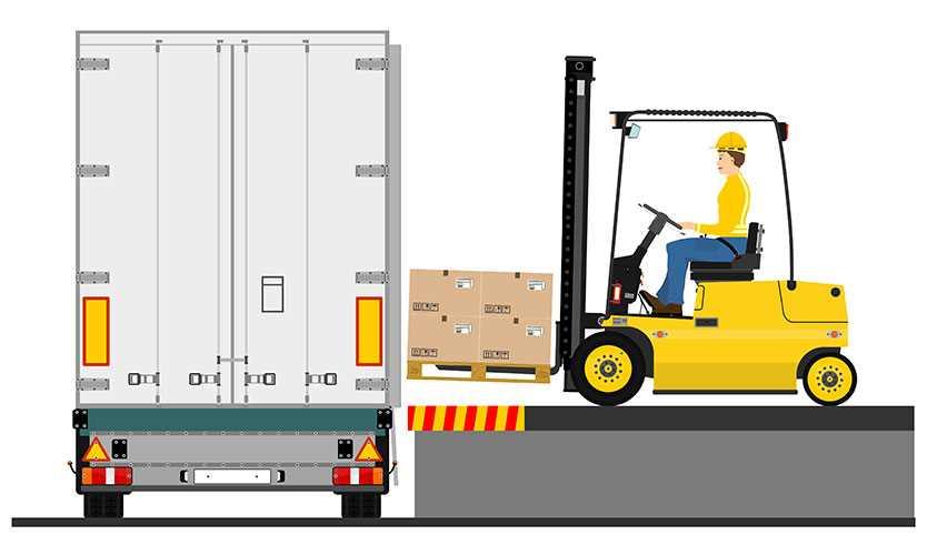 Forklift at loading dock
