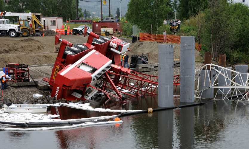 A crane accident at a construction worksite in Fairbanks, Alaska
