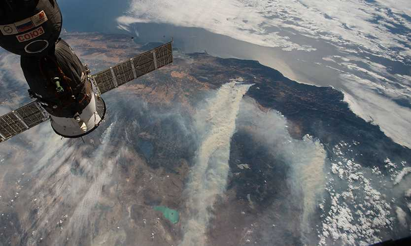 California wildfires seen from the International Space Station