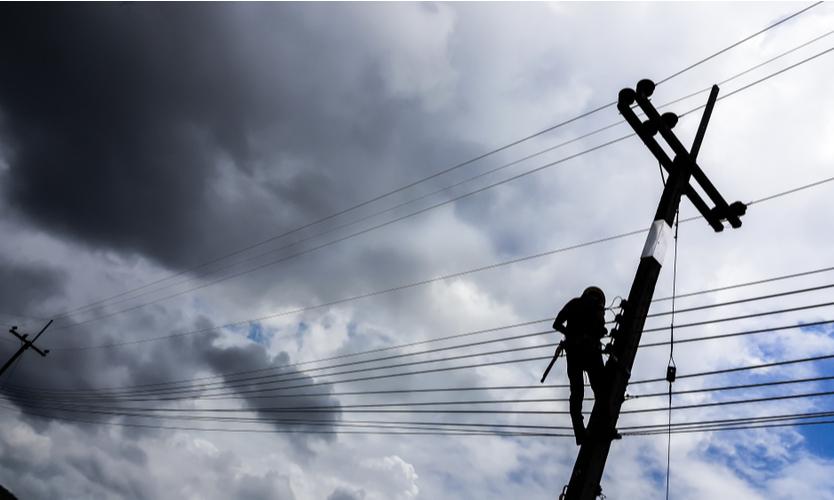 power lines worker