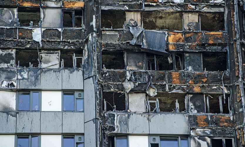 Burned Grenfell Tower cladding in 2017