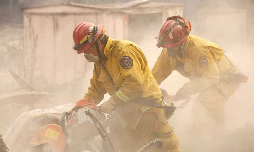 Cal Fire firefighters in Paradise, California
