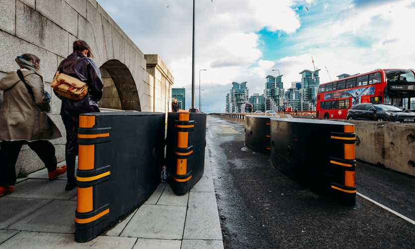 Anti-terrorism safety barriers on Vauxhall Bridge, London