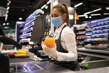 masked cashier