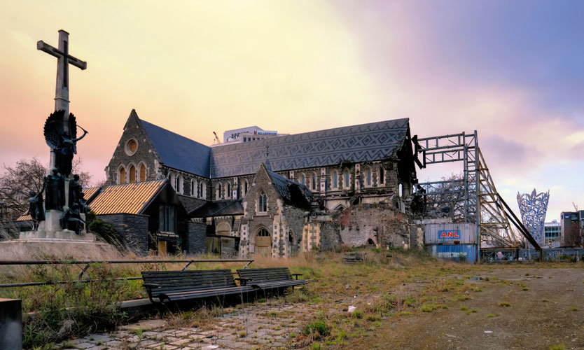 Christchurch Cathedral ruins in 2016, five years after the 2011 Christchurch earthquake