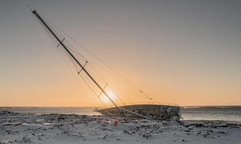 Yacht run aground