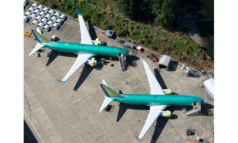 Boeing 737 NGs parked outside the company factory at Renton Airport in Washington state