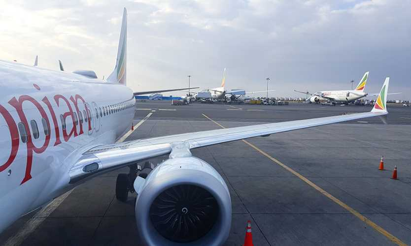 Ethiopian Airlines plane at Bole International Airport in Addis Ababa