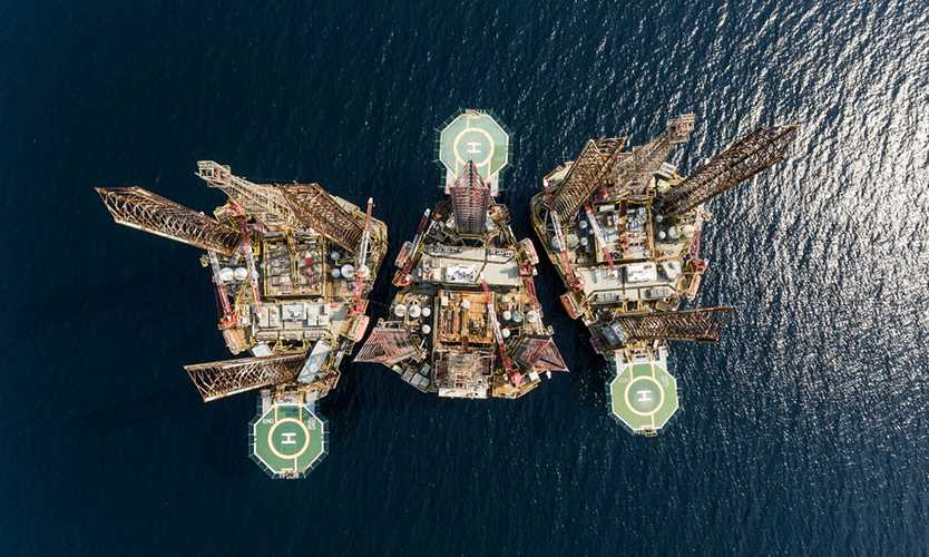 Oil and gas drilling platform in the Gulf of Guinea in Africa