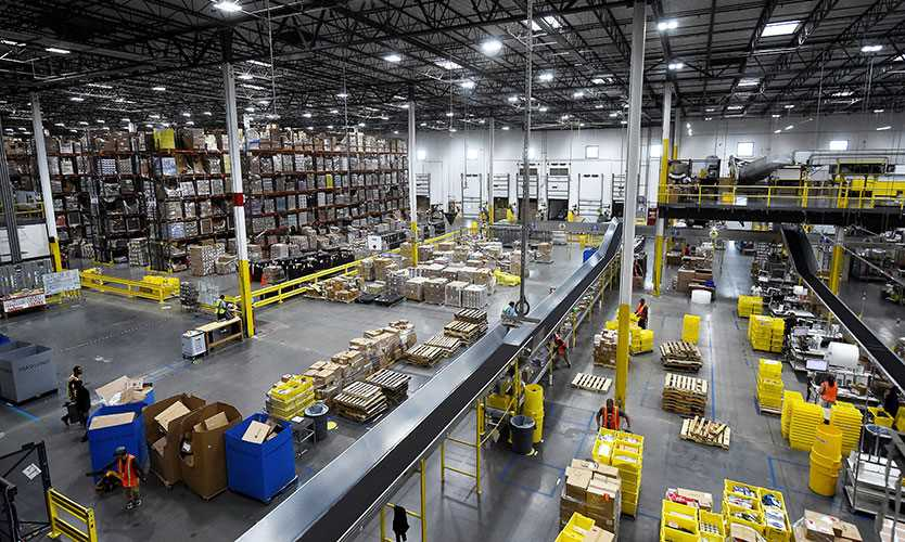 Overview of the Amazon fulfillment center in Baltimore in April 2019