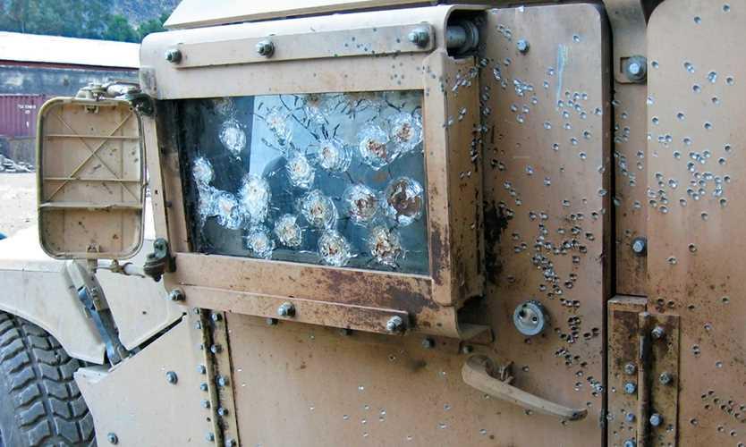 Damaged U.S. military vehicle in Iraq