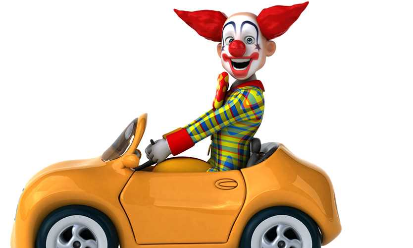 Ticket ensures a clown's frown for driving without insurance