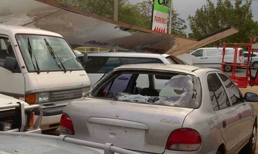 Hail damage to cars in Australia