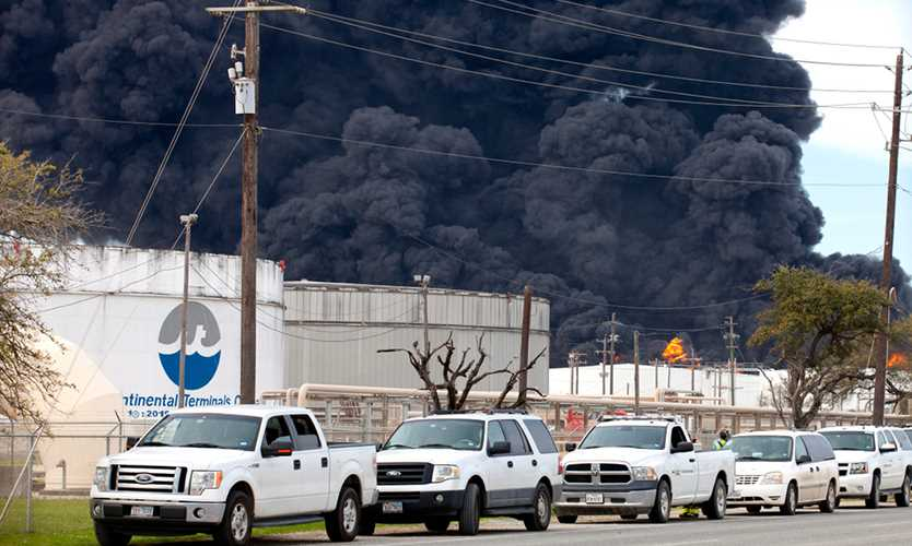 Storage tank fire at Intercontinental Terminals Co. in Deer Park, Texas, near Houston