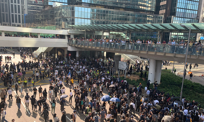 Protests in Hong Kong Central on Nov. 13, 2019
