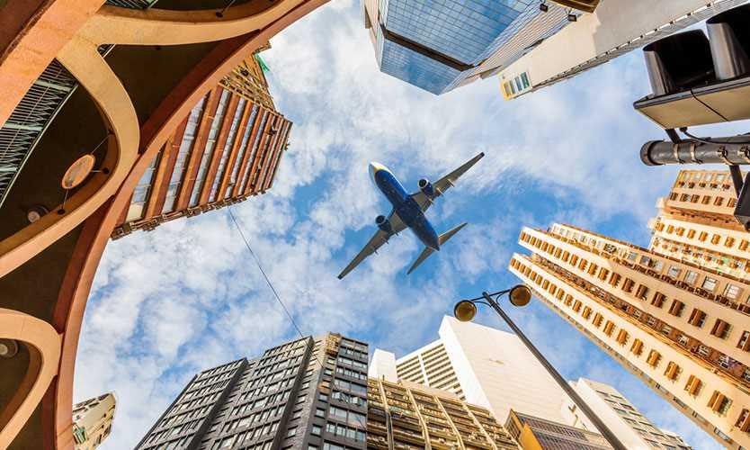 Airplane over Hong Kong