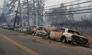 Burned cars on Skyway in Paradise, California