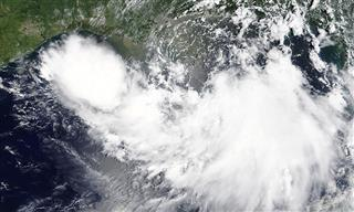 Tropical Storm Barry is shown in the Gulf of Mexico approaching the coast of Louisiana on July 11, 2019.