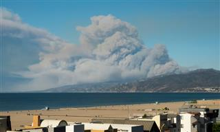 The Woolsey Fire near Malibu as seen from Santa Barbara, California