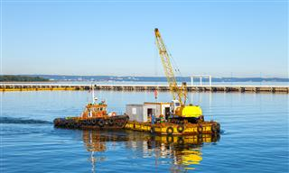 barge with crane