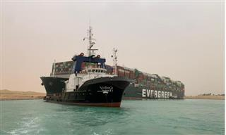 A container ship in the Suez Canal