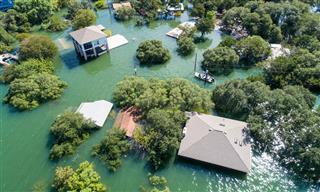 Aerial drone view of flooded area