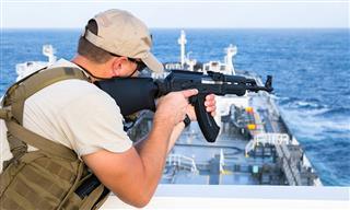 Armed guard on a tanker in the Gulf of Aden