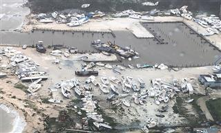 Damage from Hurricane Dorian over an unspecified location in the Bahamas on Sept. 2, 2019.