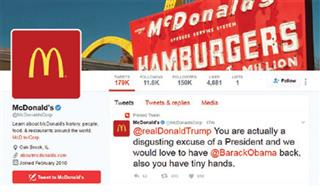 McDonalds scrambles to mitigate reputational damage from Twitter hack Trump