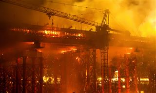 Fire at a bridge construction site