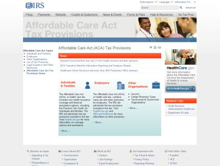 IRS launches health care reform information website
