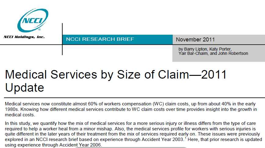 Large workers comp claims see higher cost inflation, slower payouts: NCCI