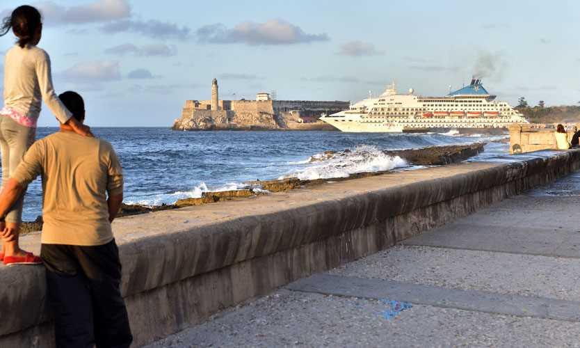 Cruise ship leaving the Port of Havana