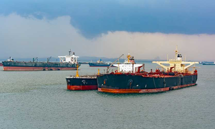 Refueling or bunkering in marine terms is carried out using a small tanker to pump the bunker fuel into the bigger ship.