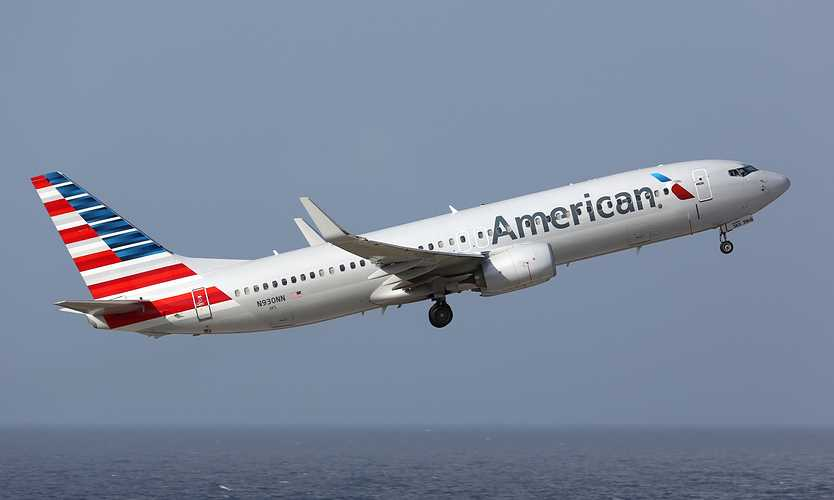 American Airlines airplane during takeoff