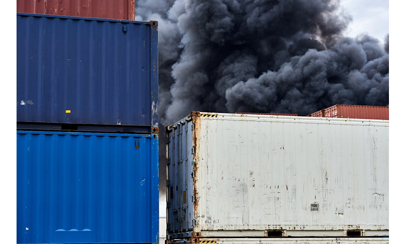 Shipping container fire
