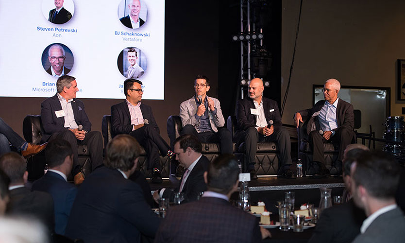 Panelists left to right: Jim Kilduff of Outdoorsy, Biswa Sengupta of Axa XL, Jamie Yoder of Snapsheet, Steven Petrevski of Aon and Brian Warren of Microsoft.