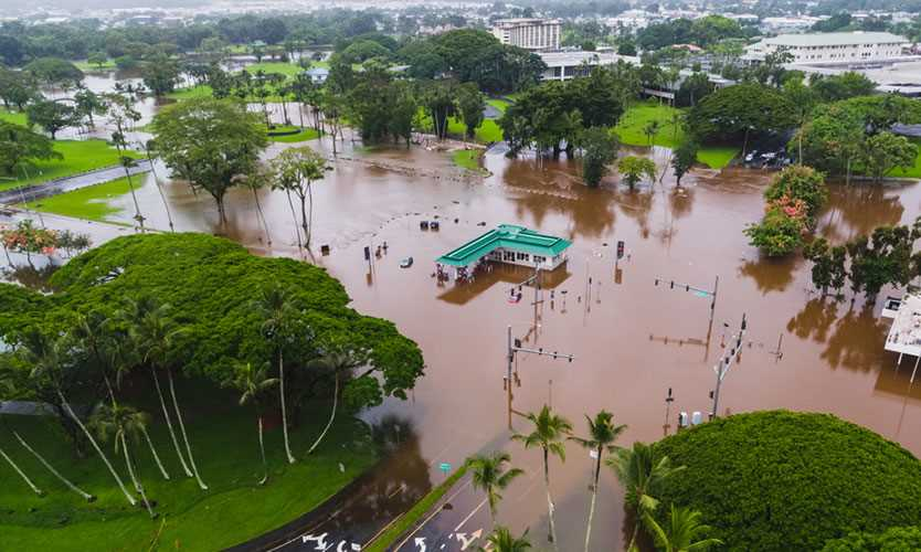 Hawaii flood after hurricane