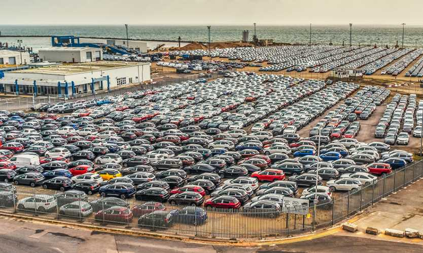 A glut of imported new cars almost fills the port of Ramsgate Royal Harbour