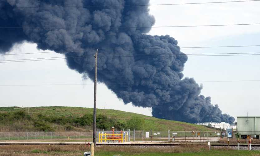A plume of smoke rises from a petrochemical fire at the Intercontinental Terminals Company, in Deer Park, Texas.